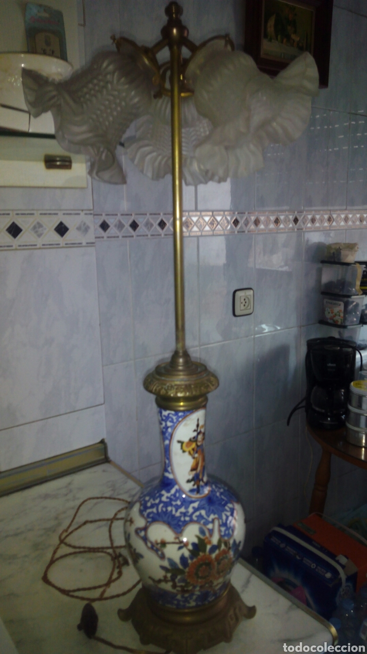 ANTIGUA LAMPARA GRANDE 73 CM VER FOTOS Y DESCRIPCIÓN (Antigüedades - Iluminación - Lámparas Antiguas)