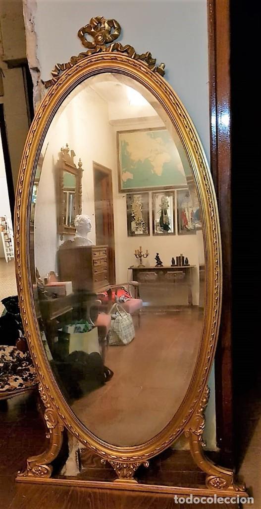 Antigüedades: Enorme espejo de madera y oro - Foto 3 - 145281066