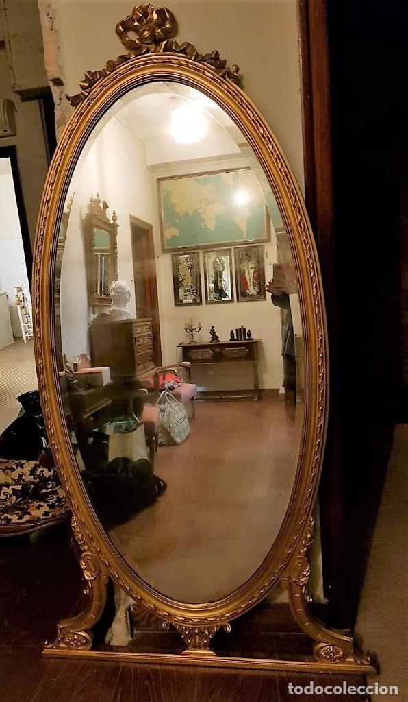 Antigüedades: Enorme espejo de madera y oro - Foto 4 - 145281066