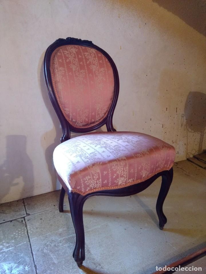 Antigüedades: Lote de Sillón Isabelino y 4 Sillas - Foto 6 - 145341218