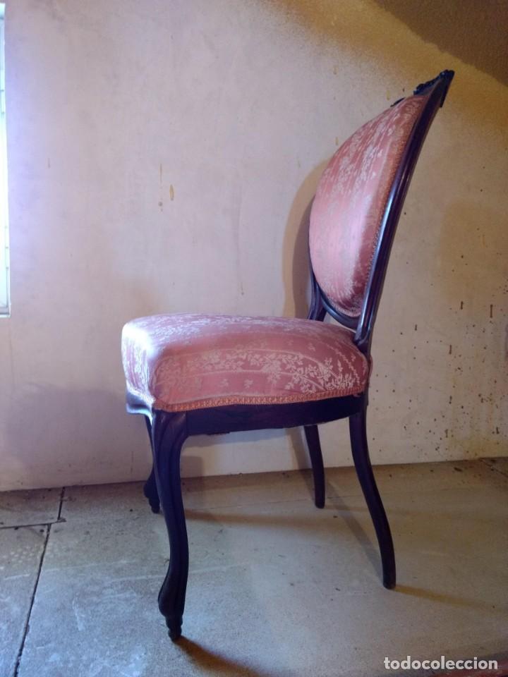 Antigüedades: Lote de Sillón Isabelino y 4 Sillas - Foto 7 - 145341218