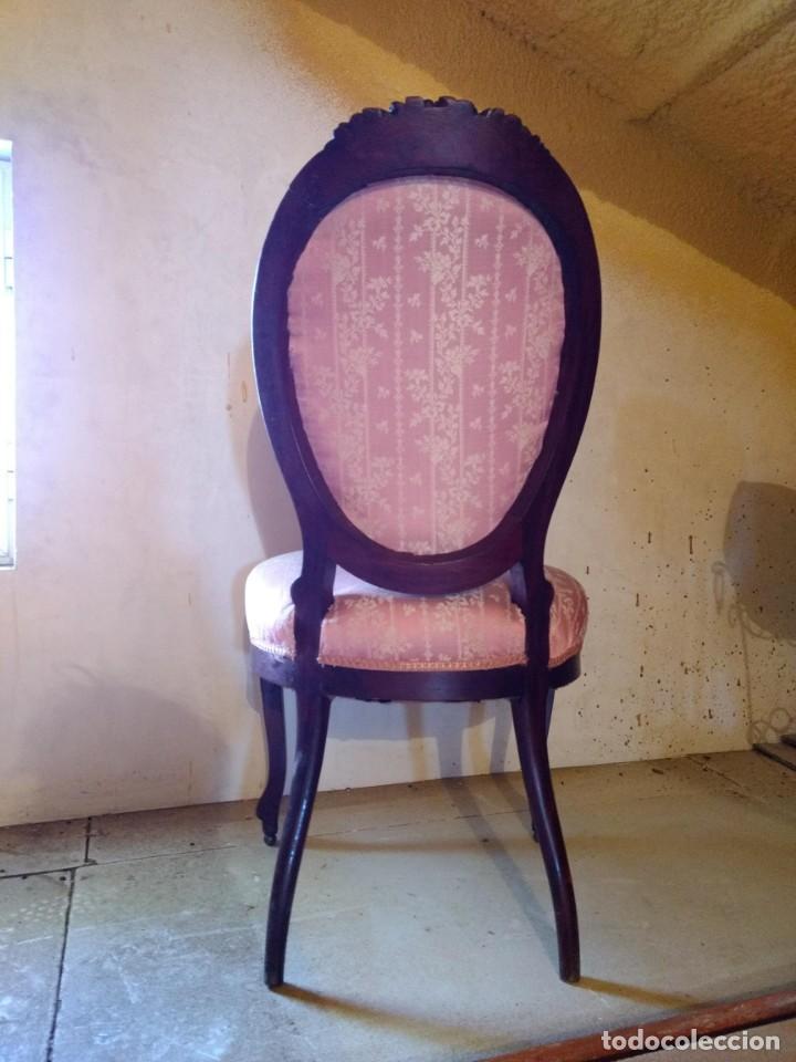 Antigüedades: Lote de Sillón Isabelino y 4 Sillas - Foto 8 - 145341218