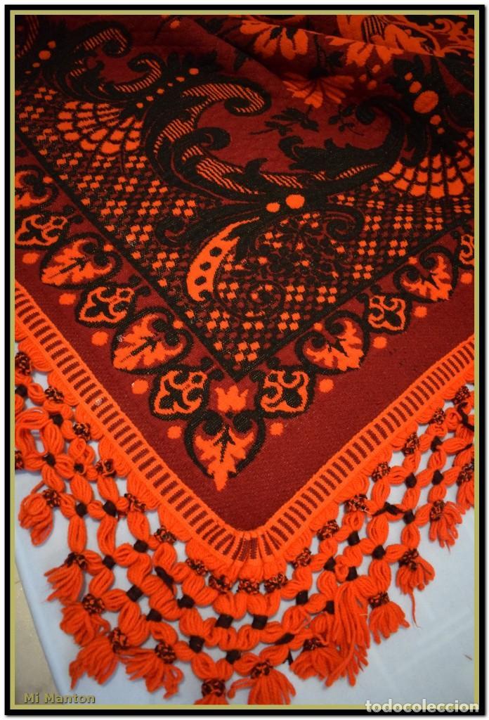 Antigüedades: Maravillosa colcha manta lana antigua artesanal reversible doble cara - Foto 3 - 145405394