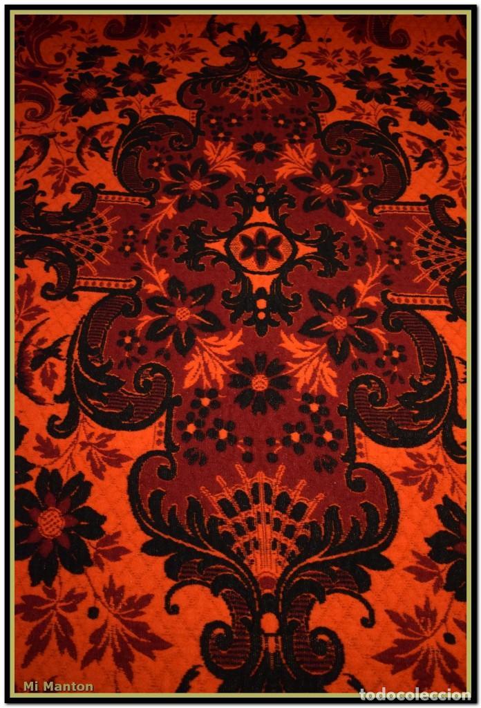 Antigüedades: Maravillosa colcha manta lana antigua artesanal reversible doble cara - Foto 4 - 145405394