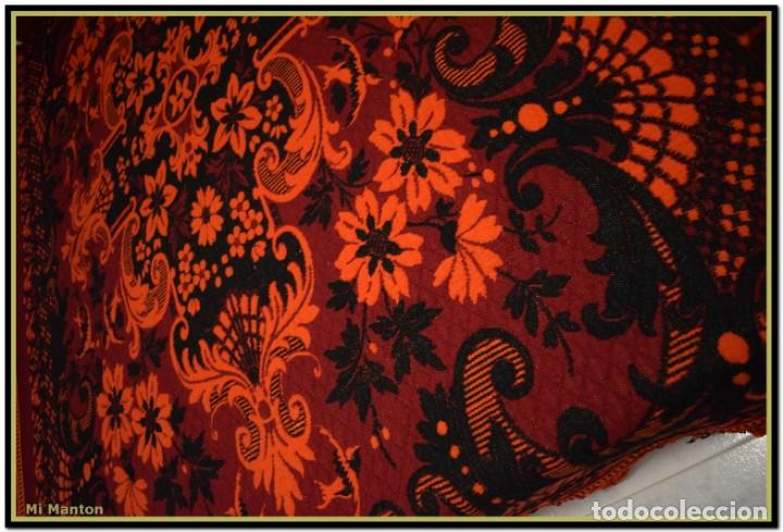 Antigüedades: Maravillosa colcha manta lana antigua artesanal reversible doble cara - Foto 5 - 145405394