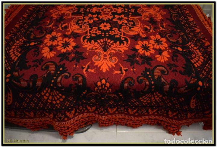 Antigüedades: Maravillosa colcha manta lana antigua artesanal reversible doble cara - Foto 6 - 145405394