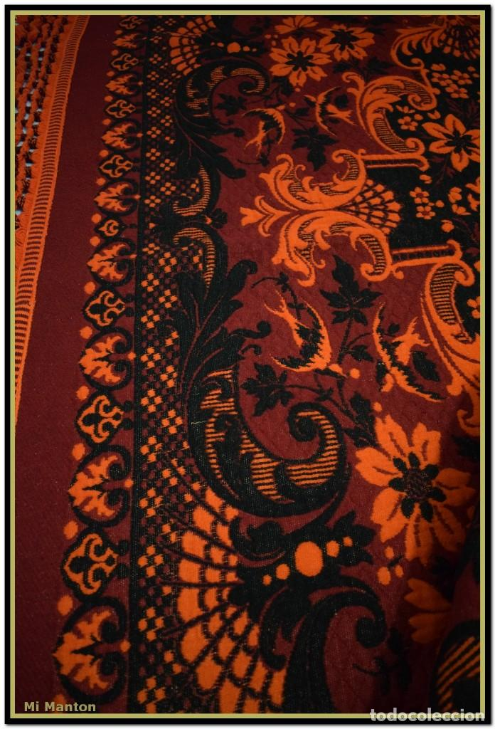 Antigüedades: Maravillosa colcha manta lana antigua artesanal reversible doble cara - Foto 7 - 145405394