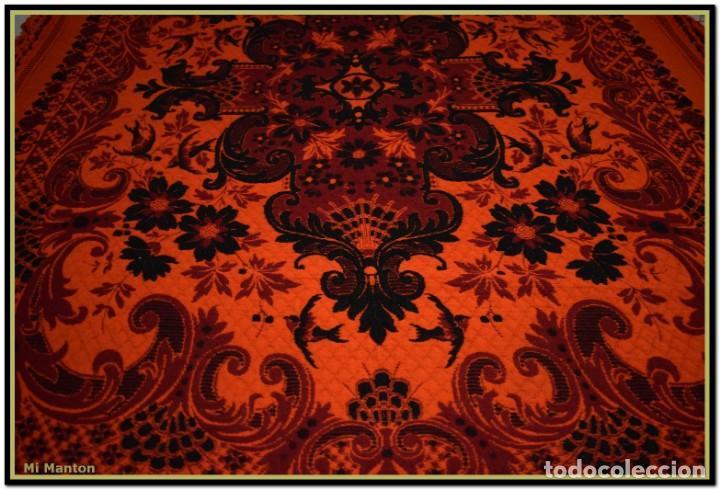 Antigüedades: Maravillosa colcha manta lana antigua artesanal reversible doble cara - Foto 8 - 145405394