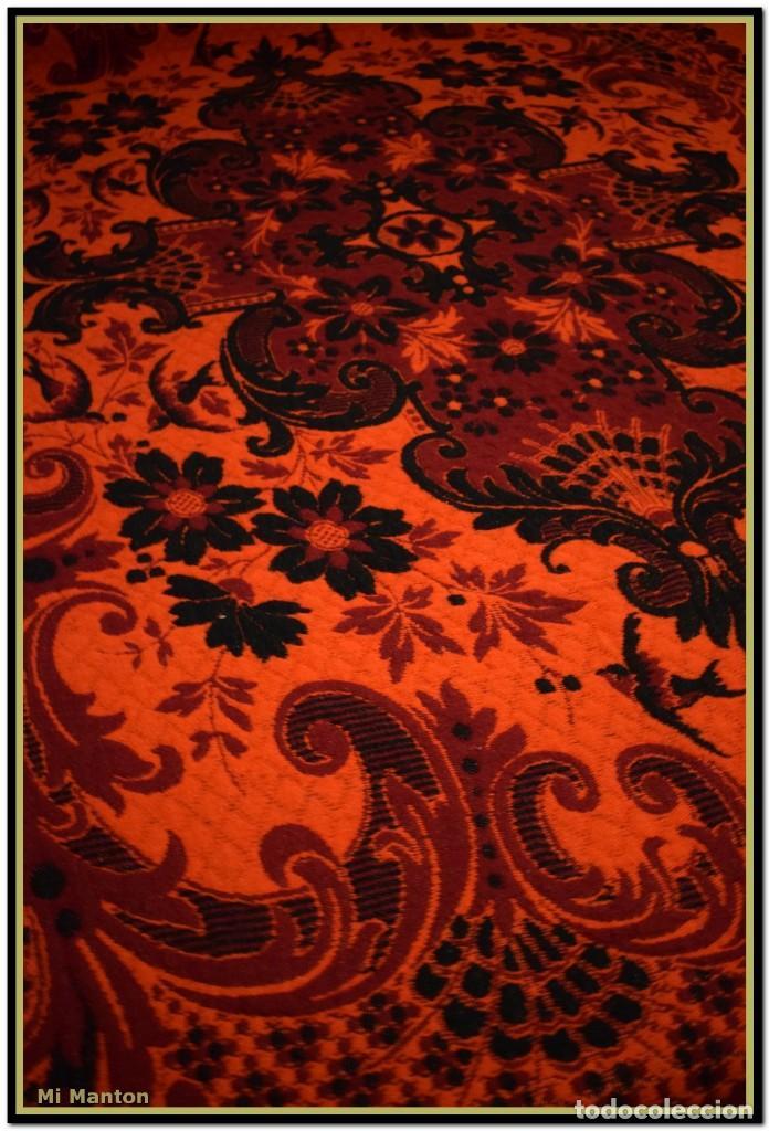 Antigüedades: Maravillosa colcha manta lana antigua artesanal reversible doble cara - Foto 9 - 145405394