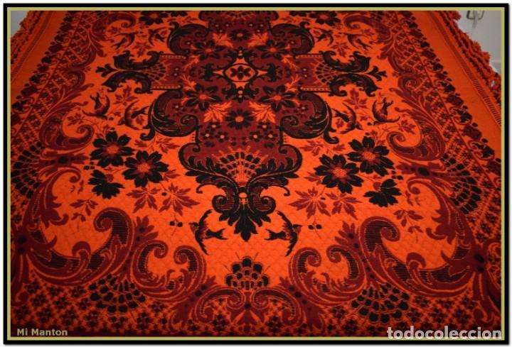 Antigüedades: Maravillosa colcha manta lana antigua artesanal reversible doble cara - Foto 11 - 145405394