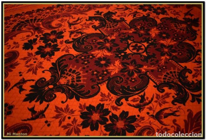 Antigüedades: Maravillosa colcha manta lana antigua artesanal reversible doble cara - Foto 12 - 145405394