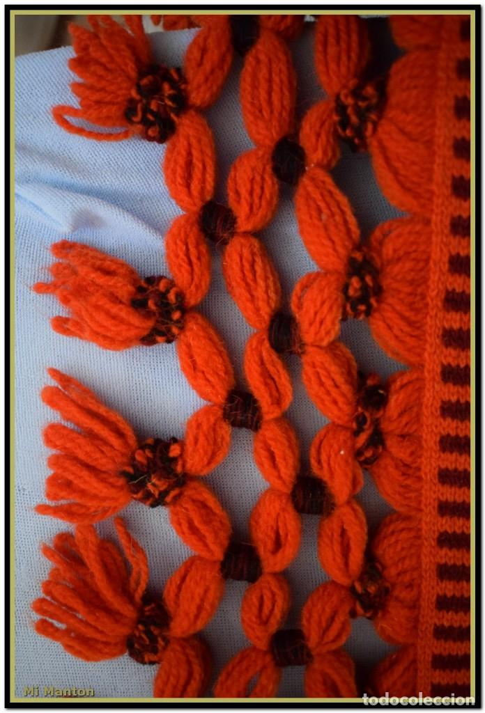 Antigüedades: Maravillosa colcha manta lana antigua artesanal reversible doble cara - Foto 13 - 145405394