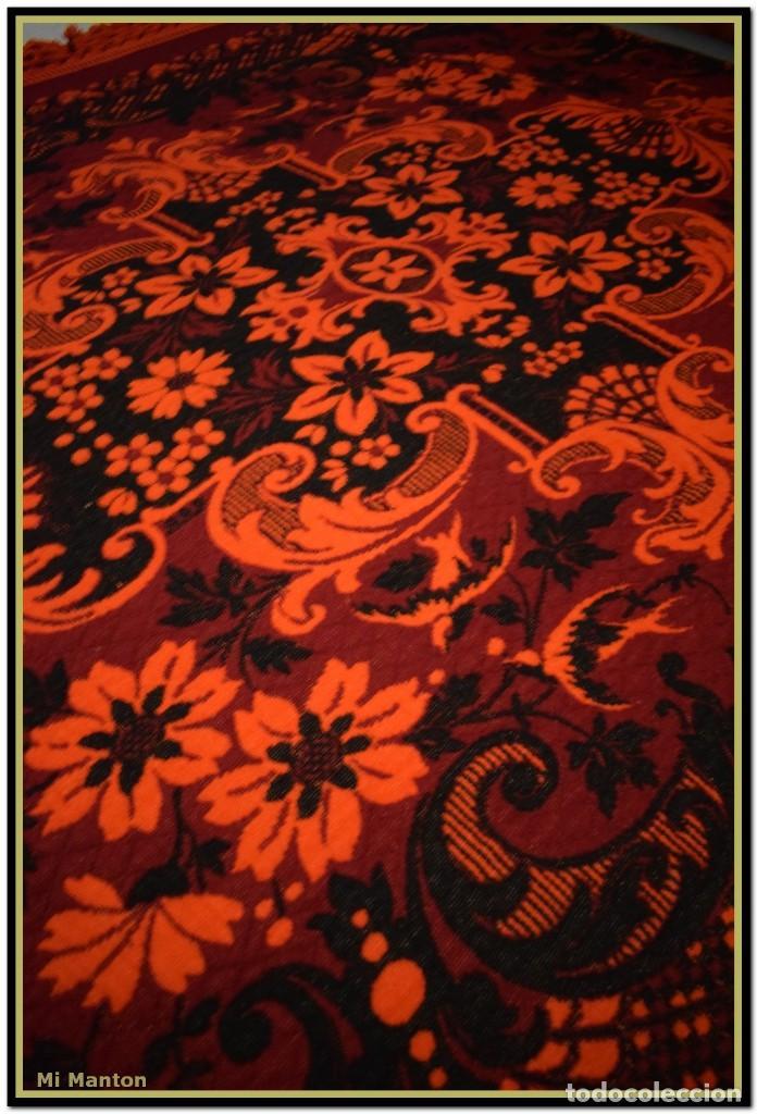 Antigüedades: Maravillosa colcha manta lana antigua artesanal reversible doble cara - Foto 2 - 145405394