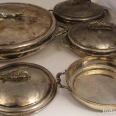 Antiquités: JUEGO DE 7 FUENTES CON TAPA EN ALPACA PARA SERVIR PESCADO. Lote 145469562
