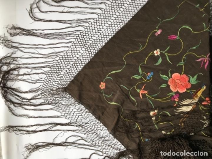 Antigüedades: manton de manila antiguo isabelino ala de mosca - Foto 4 - 117228939