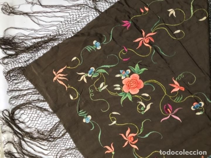 Antigüedades: manton de manila antiguo isabelino ala de mosca - Foto 6 - 117228939