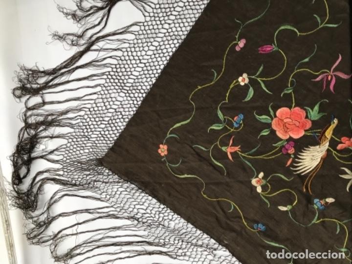 Antigüedades: manton de manila antiguo isabelino ala de mosca - Foto 7 - 117228939