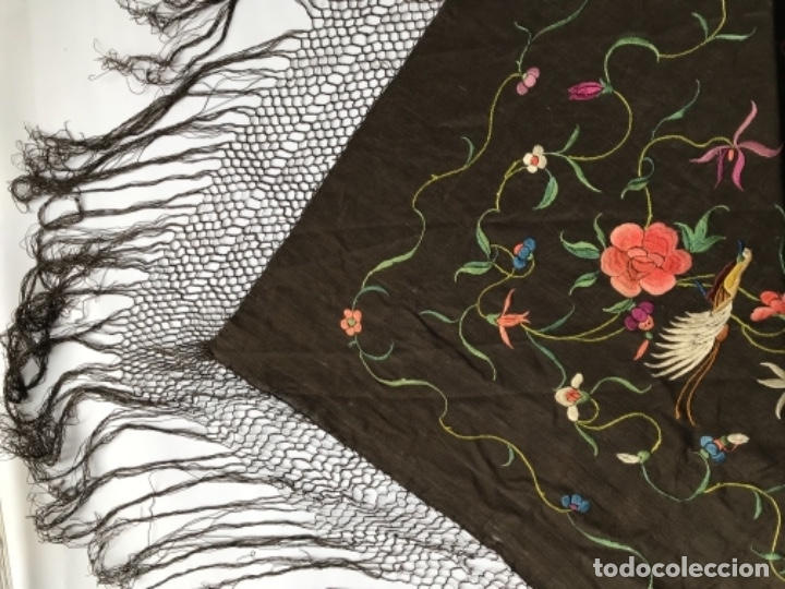 Antigüedades: manton de manila antiguo isabelino ala de mosca - Foto 8 - 117228939