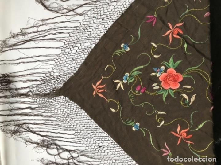 Antigüedades: manton de manila antiguo isabelino ala de mosca - Foto 9 - 117228939
