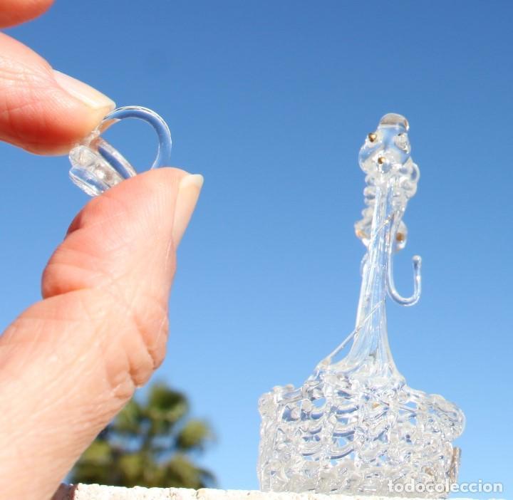 Antigüedades: Pozo de cristal soplado en filigrana con pan de oro, pájaros y cubito - Foto 3 - 145511090