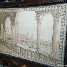 Antigüedades: LINDO TAPIZ PLAZA ESPAÑA EXPOSICIÓN UNIVERSAL DE SEVILLA 1928 ORIJINAL. Lote 145532108