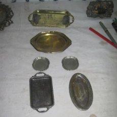Antigüedades: LOTE DE SIETE BANDEJAS PLATEADAS. Lote 145534870