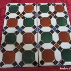 Antigüedades: DOS AZULEJOS DE MENSAQUE. SEVILLA. CUERDA SECA. . Lote 145553986