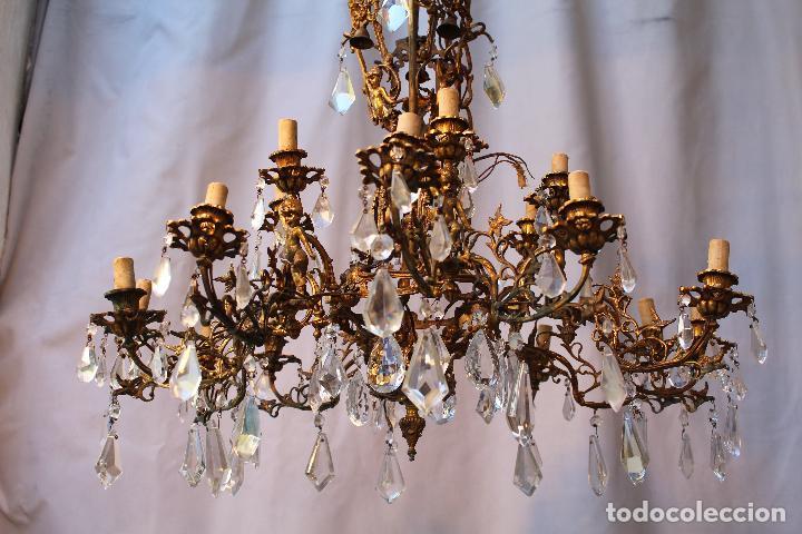 Antigüedades: lampara de techo en bronce con angeles y cristal de roca - Foto 2 - 145557318