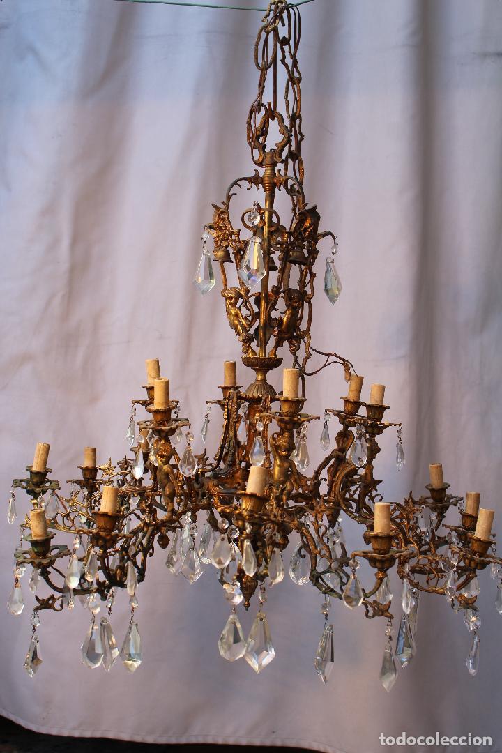 Antigüedades: lampara de techo en bronce con angeles y cristal de roca - Foto 3 - 145557318