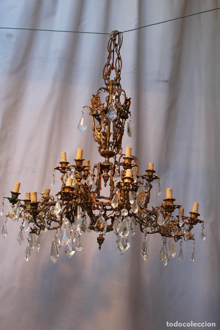 Antigüedades: lampara de techo en bronce con angeles y cristal de roca - Foto 4 - 145557318