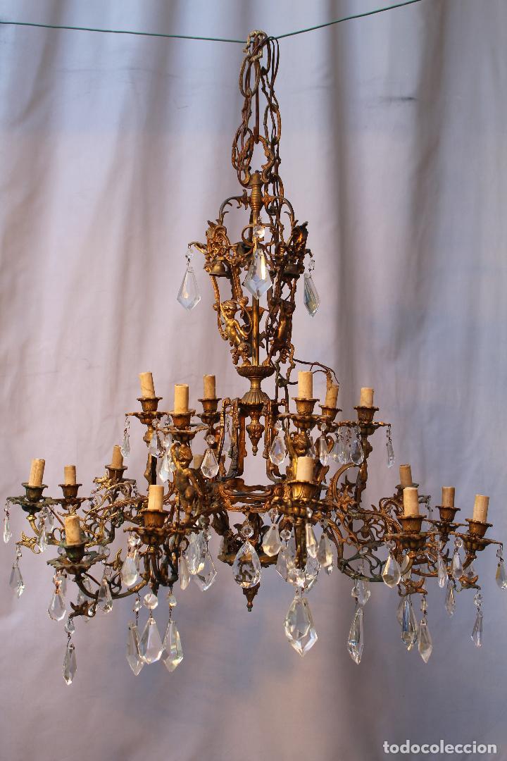 Antigüedades: lampara de techo en bronce con angeles y cristal de roca - Foto 5 - 145557318