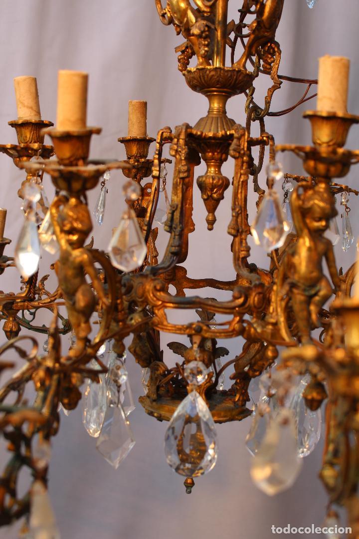 Antigüedades: lampara de techo en bronce con angeles y cristal de roca - Foto 6 - 145557318