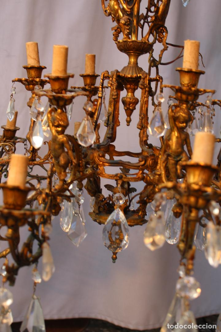 Antigüedades: lampara de techo en bronce con angeles y cristal de roca - Foto 7 - 145557318