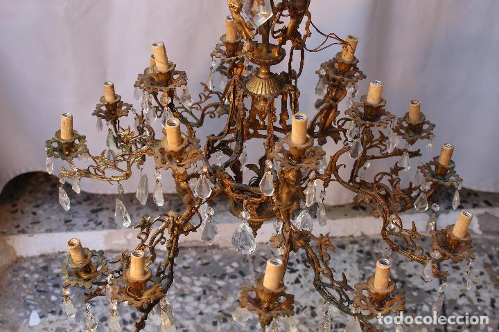 Antigüedades: lampara de techo en bronce con angeles y cristal de roca - Foto 9 - 145557318