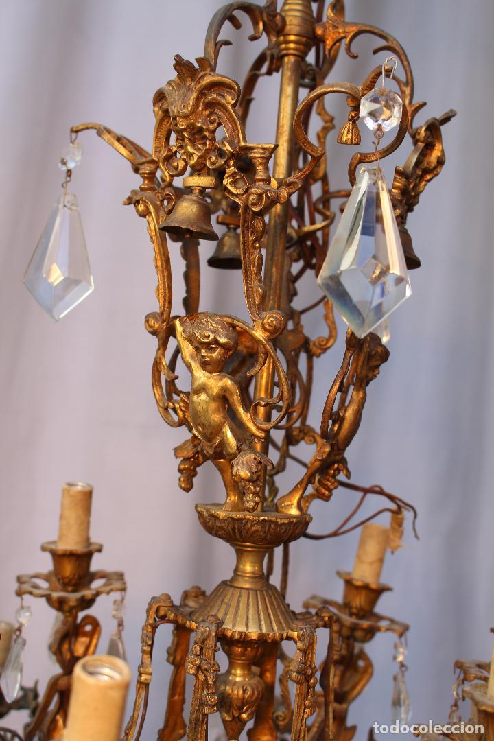 Antigüedades: lampara de techo en bronce con angeles y cristal de roca - Foto 11 - 145557318