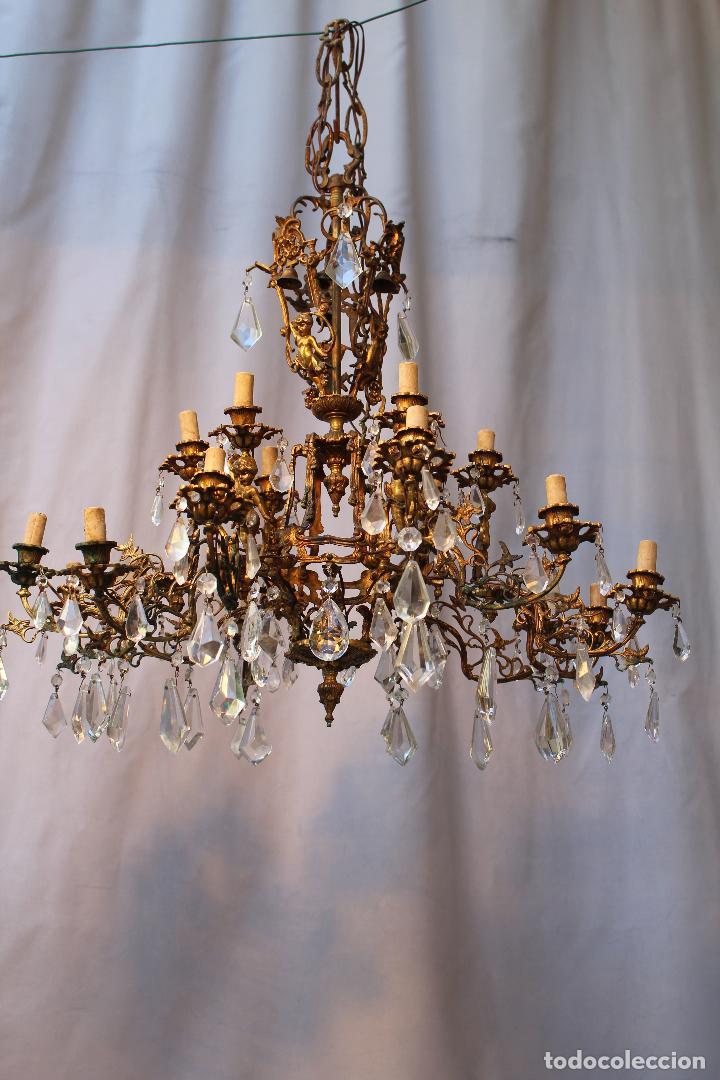 Antigüedades: lampara de techo en bronce con angeles y cristal de roca - Foto 13 - 145557318