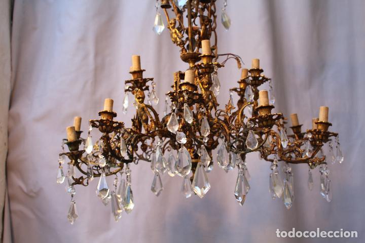 Antigüedades: lampara de techo en bronce con angeles y cristal de roca - Foto 14 - 145557318