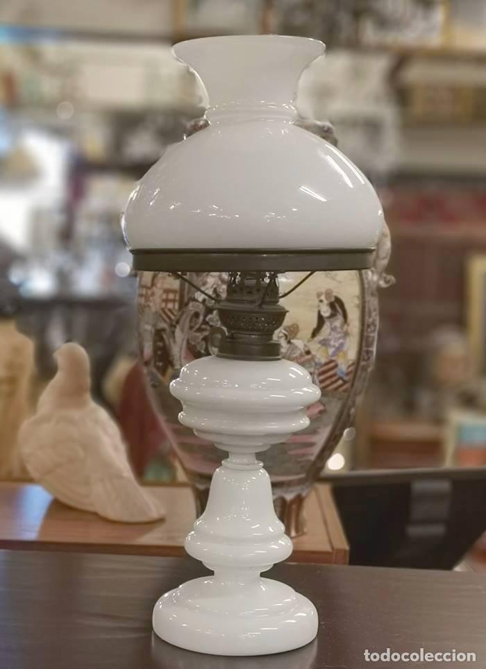 QUINQUÉ OPALINA (Antigüedades - Iluminación - Quinqués Antiguos)
