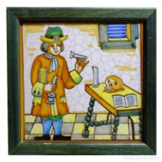 Antigüedades: AZULEJO BALDOSA DE OFICIOS ALQUIMIA MEDICINA FARMACIA -. Lote 145586434