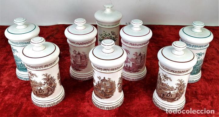8 ALBARELOS. LOZA ESMALTADA. LA CARTUJA-PICKMAN. ESPAÑA. SIGLO XX (Antigüedades - Porcelanas y Cerámicas - La Cartuja Pickman)