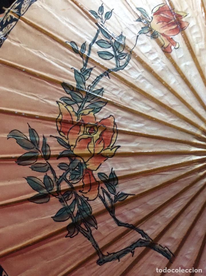 Antigüedades: Sombrilla japonesa, asiática. Papel, madera, pintada a mano. - Foto 5 - 145622714