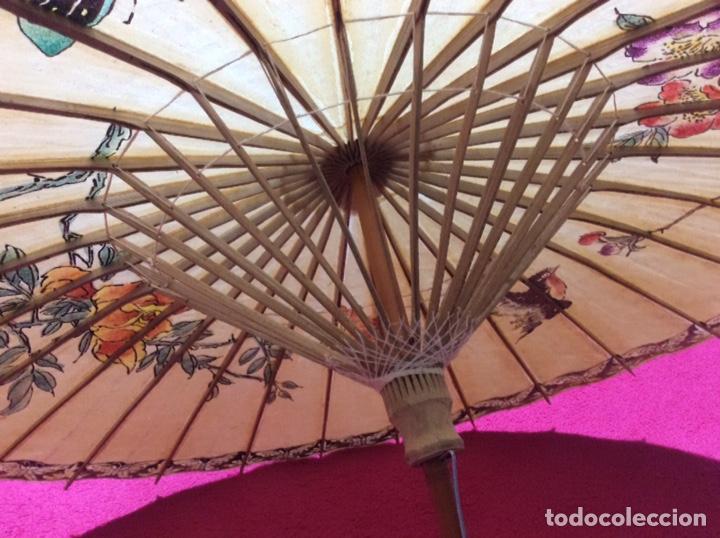 Antigüedades: Sombrilla japonesa, asiática. Papel, madera, pintada a mano. - Foto 6 - 145622714