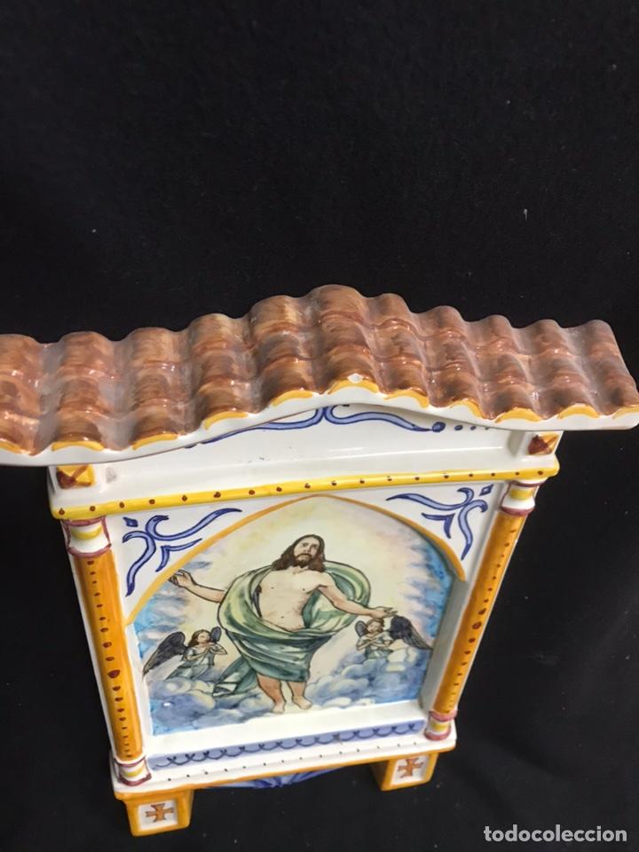 Antigüedades: Tejadillo Benditera cerámica de talavera - Foto 2 - 145633737
