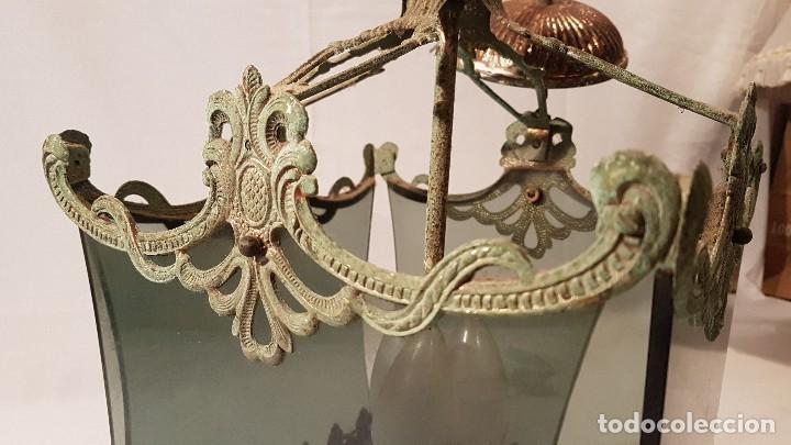 Antigüedades: ANTIGUA LAMPARA DE TECHO FORJA Y CRISTAL AHUMADO AÑOS 50 - Foto 3 - 145656718