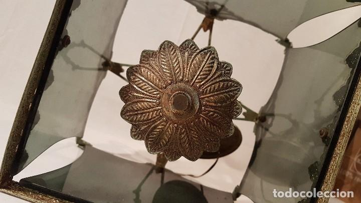 Antigüedades: ANTIGUA LAMPARA DE TECHO FORJA Y CRISTAL AHUMADO AÑOS 50 - Foto 4 - 145656718