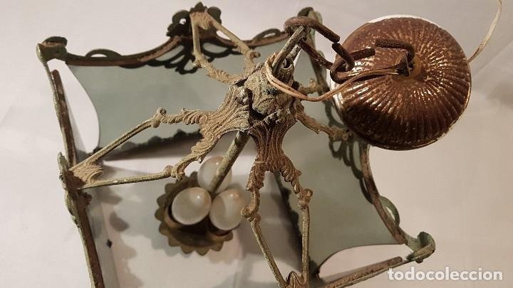 Antigüedades: ANTIGUA LAMPARA DE TECHO FORJA Y CRISTAL AHUMADO AÑOS 50 - Foto 5 - 145656718