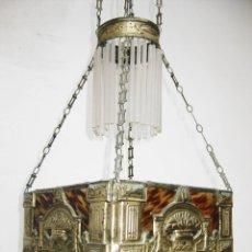 Antigüedades: FANTASTICA LAMPARA ANTIGUA CIRCA 1900 LATON PLATEADO Y BAKELITA SIMIL CAREY LAGRIMAS CRISTAL. Lote 54563807