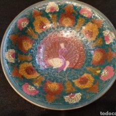 Antigüedades: CENTRO DE MESA DE BRONCE ESMALTADO. CLOISONNE. 19,5 CM DIÁMETRO. Lote 145710194