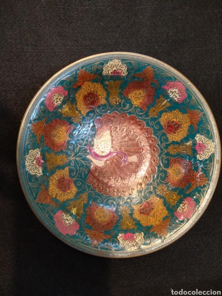 Antigüedades: Centro de mesa de bronce esmaltado. Cloisonne. 19,5 cm diámetro - Foto 3 - 145710194
