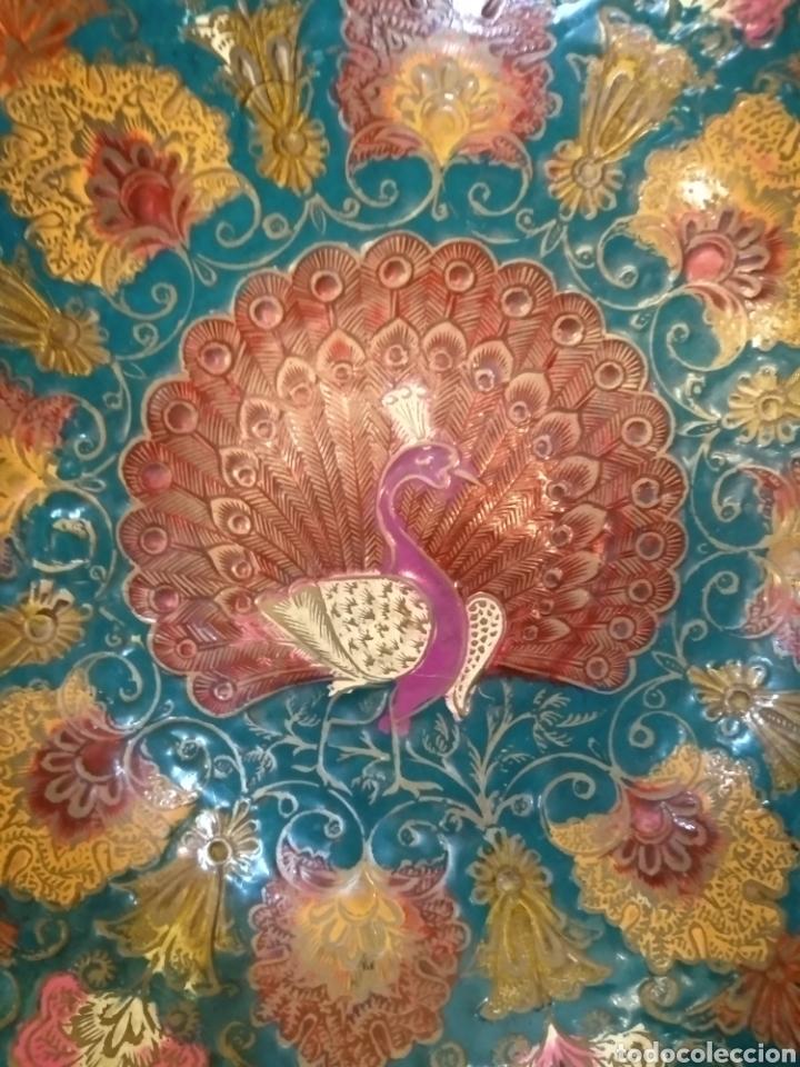 Antigüedades: Centro de mesa de bronce esmaltado. Cloisonne. 19,5 cm diámetro - Foto 5 - 145710194